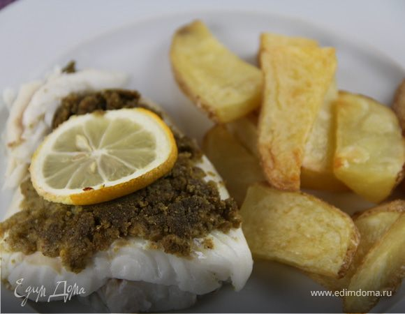 Запеченная рыба с корочкой из соуса песто