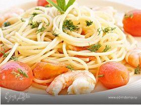 Паста с креветками и томатами черри