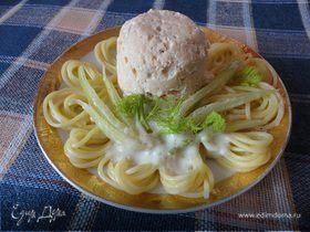Рыбные тефтели в гнезде из спагетти со сливочным соусом