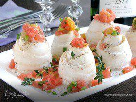 Филе белой рыбы с грейпфрутовой сальсой