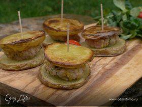 Картофельные мини-сэндвичи с котлеткой из ягнятины
