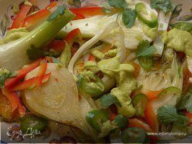 Салат из фенхеля и апельсина с заправкой из авокадо