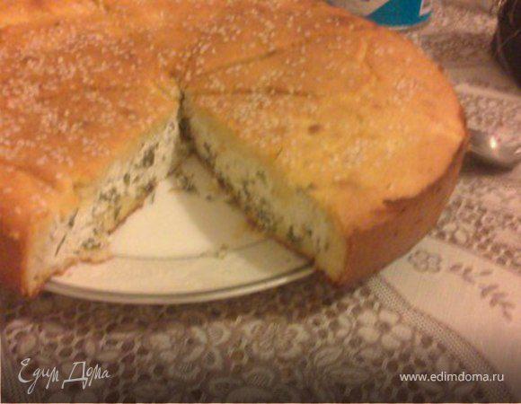 Пирог из кукурузной муки с творогом, тмином и пряными травами