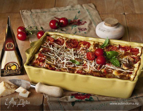 Лазанья с томатами, телятиной и сыром Джюгас