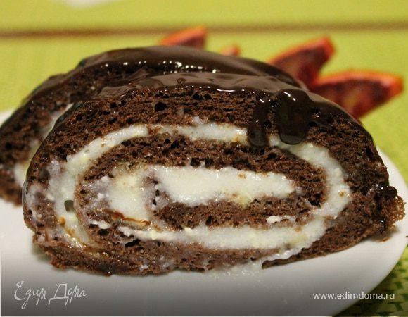 Шоколадный рулет с кремом из манки