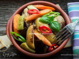 Цыпленок с молодыми овощами