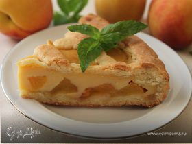 Пирог с персиками и пудингом из ряженки
