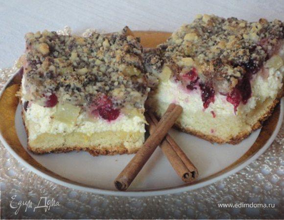 Обсыпной пирог с ревенем