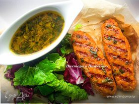 Кебаб из лосося с тархуном и винным соусом
