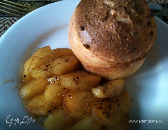 Мини-запеканки творожные с карамелизованым яблоком и корицей