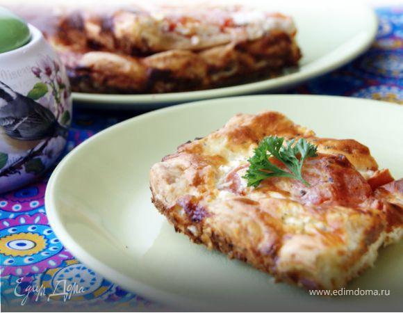 Сырный пирог с томатами