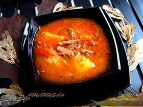 Суп-лечо с телячьей грудинкой