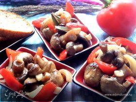 Шампиньоны со сладким перцем быстрого маринования