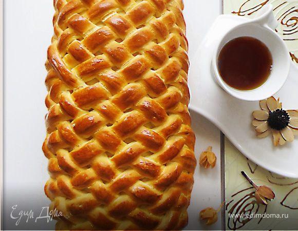 "Пирог ""Плетенка"" с начинкой из яблок и изюма"