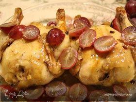 Цыплята с вином, виноградом и барбарисом