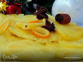 Карпаччо из ананаса с просекко и специями