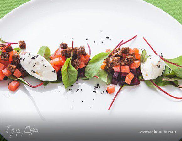 Салат из мангольда с лососем и заварным кремом