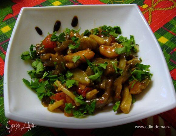 Печеные овощи с морепродуктами
