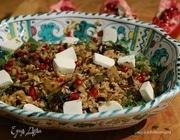 Рис с баклажаном, фетой и гранатом
