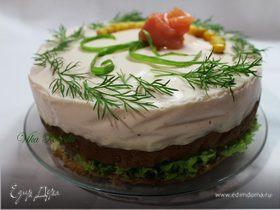 Бутербродный торт-мусс со слабосолёным лососем и фетой
