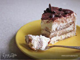 """Торт """"Тирамису"""" с двухцветный бисквитом-бортиком (без сырых яиц!)"""