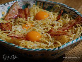 Спагетти карбонара с желтками пашот