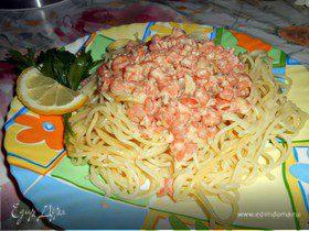 Спагетти с креветками в сливочно-чесночном соусе