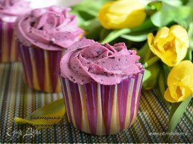 Черничные капкейки с творожно-ягодной начинкой