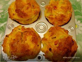 Заварные булочки с ветчиной, сыром и болгарским перцем