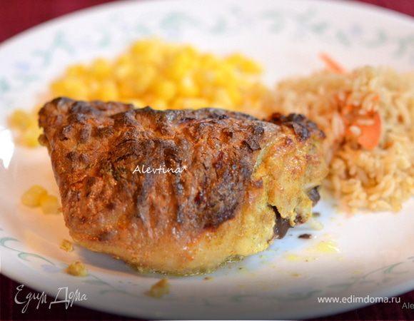 Маринованные куриные бедра в йогурте с карри