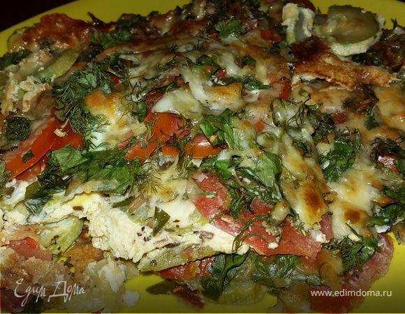 Кабачки, запеченные с помидорами, сыром и зеленью