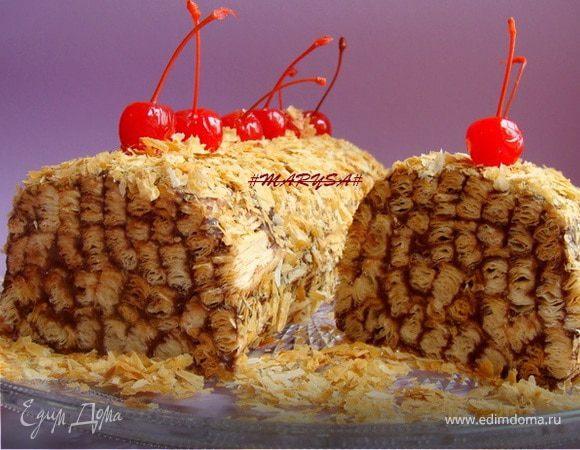 Торт-полено из слоеного теста с шоколадным кремом