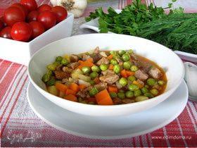 Рагу из зеленого горошка с мясом