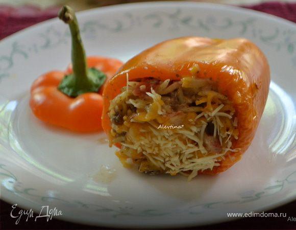 Фаршированные сладкие перцы с итальянской пастой орзо