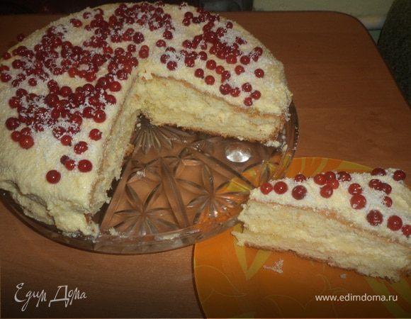 Бисквитный торт с лимонной начинкой и заварным кремом