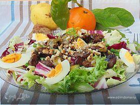 Теплый салат с печенью и апельсиновым соусом