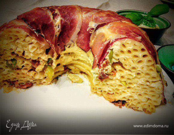 Макаронный пирог с базиликовым соусом
