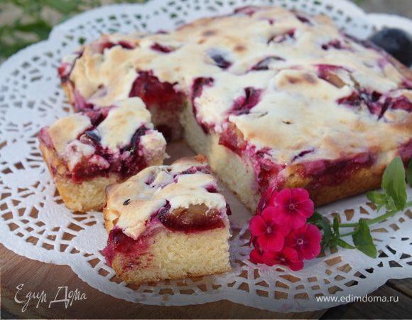 Сливочный пирог со сливовой начинкой