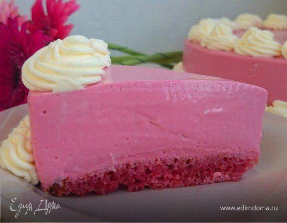 Холодный розовый чизкейк