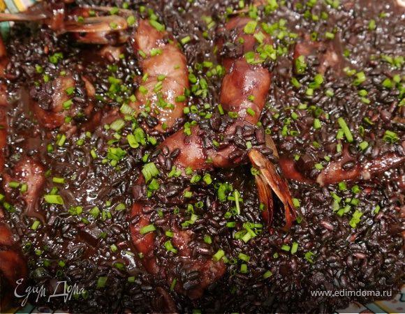 Черный рис с креветками