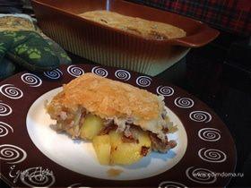 Пирог с индейкой и лисичками