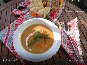 Тыквенный суп-пюре с грибами и перцем чили