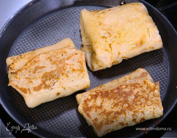 Гречневые блинчики с сыром и ветчиной