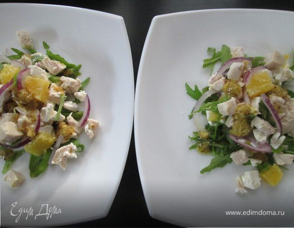 Куриный салат с апельсинами в остром соусе