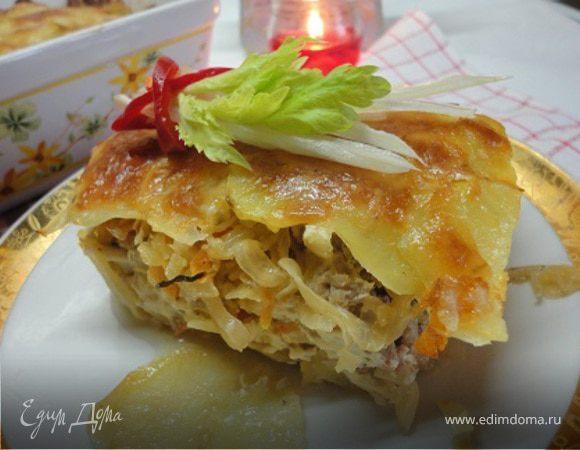 Картофель с мясом и капустой