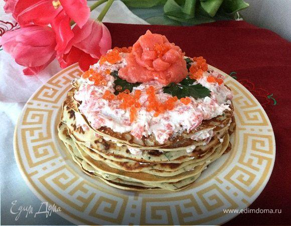 Закусочный блинный торт с семгой и рикоттой