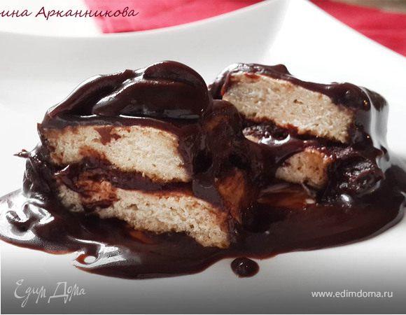 Постный шоколадный десерт с имбирно-лимонным печеньем