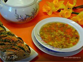Суп грибной с весенним хлебом