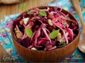 Салат из свеклы, чечевицы и капусты