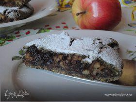 Овсяный пирог с яблоками и черносливом